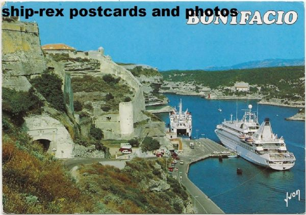 SEA GODDESS (Cunard Line) at Bonifacio, postcard